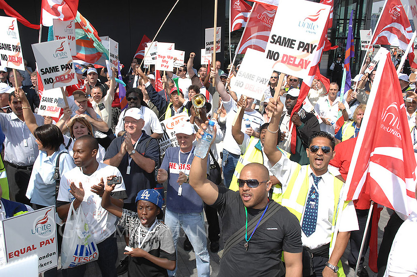 members of the UNITE and RMT Trade Unions march on City Hall the office of Mayor Boris Johnson to demand a better deal for workers on London Buses.