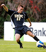 17 October 2007: The University of Maryland Retrievers' Bryan Moffa, a Senior from Baltimore, MD, in action against the University of Vermont Catamounts at Historic Centennial Field in Burlington, Vermont. The Catamounts and Retrievers battled to a scoreless, double-overtime tie...Mandatory Photo Credit: Ed Wolfstein Photo