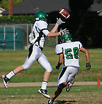 Football action. Wide receiver hangs onto the ball.