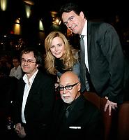 Montreal (Qc) CANADA - Feb 11 2010 -Celine autours du Monde Premiere :<br /> Stephane Laporte, Julie Snyder, Rene Angelil, Pierre-Karl Peladeau