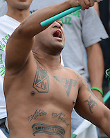 ENVIGADO –COLOMBIA, 14-02-2015: Un hincha de Atlético Nacional ondea una bandera durante el encuentro de su equipo con Envigado FC por la fecha 4 de la Liga Águila I 2015 realizado en el Polideportivo Sur de la ciudad de Envigado./ A fan of Atletico Nacional waves a flag during the match of his team with Envigado FC for the 4th date of the Aguila League I 2015 at Polideportivo Sur in Envigado city.  Photo: VizzorImage/León Monsalve/STR
