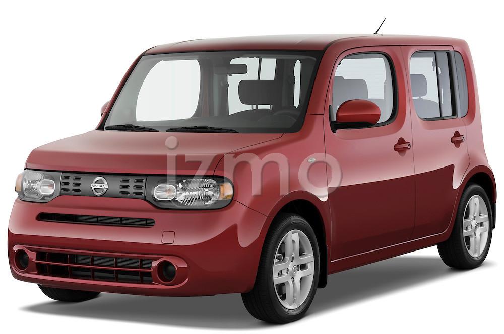 Front three quarter view of a 2009 Nissan Cube SL.