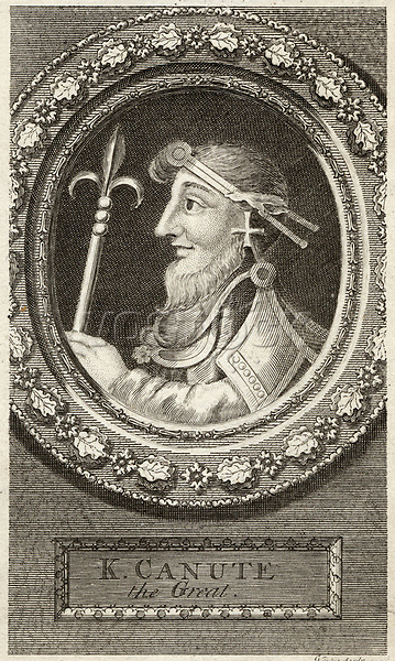 KING CNUT , CANUTE  King of England (1016-35) and Denmark (1018-35) / Engraving by Vertue / -1035