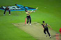 Australia's Marcus Stoinis bowels to Martin Guptill during the third international men's T20 cricket match between the New Zealand Black Capss and Australia at Sky Stadium in Wellington, New Zealand on Wednesday, 3 March 2021. Photo: Dave Lintott / lintottphoto.co.nz
