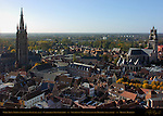 Onze-Lieve-Vrouwkerk Church of Our Lady, Cathedral Sint-Salvator, Southwest View from atop the Belfort Bell Tower, Bruges, Brugge, Belgium