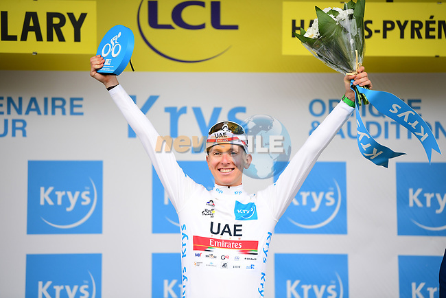 Race leader Tadej Pogacar (SLO) UAE Team Emirates wins Stage 17 and also retains the young riders White Jersey of the 2021 Tour de France, running 178.4km from Muret to Saint-Lary-Soulan Col du Portet, France. 14th July 2021.  <br /> Picture: A.S.O./Pauline Ballet   Cyclefile<br /> <br /> All photos usage must carry mandatory copyright credit (© Cyclefile   A.S.O./Pauline Ballet)