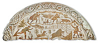 4th century Roman mosaic panel of a boar hunt from Cathage, Tunisia. The Bardo Museum, Tunis, Tunisia. White background
