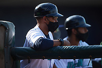 Lynchburg Hillcats manager Dennis Malave (22) watches from the dugout during the game against the Myrtle Beach Pelicans at Bank of the James Stadium on May 23, 2021 in Lynchburg, Virginia. (Brian Westerholt/Four Seam Images)