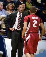 STANFORD, CA - January 29th, 2012: Stanford head coach Johnny Dawkins talks with Aaron Bright during a basketball game against California at Haas Pavilion in Berkeley, California.   California won 69-59 against Stanford.