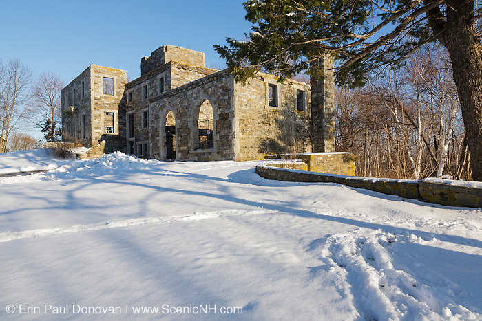 Remnants of the Goddard Mansion at Fort Williams Park in Cape Elizabeth, Maine during the winter months. Designed by architect Charles A. Alexander, this mansion was built in 1858 for Colonel John Goddard.