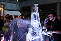 Ice sculptures displayed at Hoppy Ice Bar in Tokyo