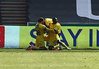 17th April 2021; Liberty Stadium, Swansea, Glamorgan, Wales; English Football League Championship Football, Swansea City versus Wycombe Wanderers; Admiral Muskwe of Wycombe Wanderers celebrates with team mates after scoring his sides first goal making it 0-1 in the 46th minute