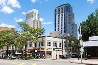A view of modern towers in City Center from Mamaroneck Avenue in downtown White Plains, New York.