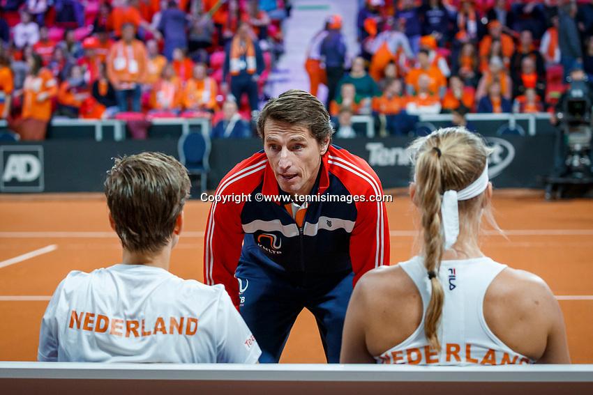 The Hague, The Netherlands, Februari 8, 2020,    Sportcampus, FedCup  Netherlands -  Balarus, Doubles: Bertens/Schuurs (NED) on the Dutch bench with captain Paul Haarhuis<br /> Photo: Tennisimages/Henk Koster