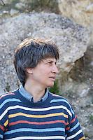 Agnes Henry-Hocquard, owner and responsible for the wines, below the tower La Tour Domaine de la Tour du Bon Le Castellet Bandol Var Cote d'Azur France