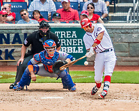 30 April 2017: Washington Nationals first baseman Ryan Zimmerman at bat in the 5th inning against the New York Mets at Nationals Park in Washington, DC. The Nationals defeated the Mets 23-5, with the Nationals setting several individual and team records, in the third game of their weekend series. Mandatory Credit: Ed Wolfstein Photo *** RAW (NEF) Image File Available ***