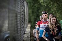 race winner Bob Jungels (LUX/Quick-Step Floors) escorted to the post-race press-conference<br /> <br /> 104th Liège - Bastogne - Liège 2018 (1.UWT)<br /> 1 Day Race: Liège - Ans (258km)