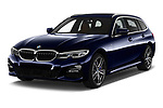 2020 BMW 3-Series M-Sport 5 Door Wagon Angular Front automotive stock photos of front three quarter view