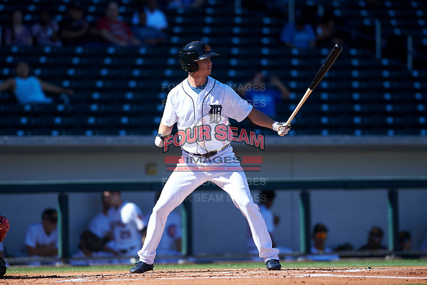 Mesa Solar Sox shortstop AJ Simcox (17), of the Detroit Tigers organization, at bat during an Arizona Fall League game against the Scottsdale Scorpions on October 24, 2017 at Sloan Park in Mesa, Arizona. The Scorpions defeated the Solar Sox 3-1. (Zachary Lucy/Four Seam Images)