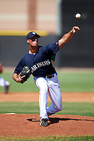 Seattle Mariners minor league pitcher Blake Holovach #63 during an instructional league game against the Kansas City Royals at the Peoria Sports Complex on October 2, 2012 in Peoria, Arizona.  (Mike Janes/Four Seam Images)