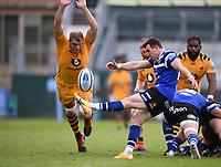 31st August 2020; Recreation Ground, Bath, Somerset, England; English Premiership Rugby, Bath versus Wasps; Ben Spencer of Bath kicks under pressure from Joe Launchbury of Wasps
