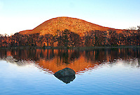 """A reflection of """"Anthony's Nose"""" on Hessian Lake, on Bear Mountain N.Y.<br /> Late fall, changing colors reflected on a tranquil lake.<br /> Printed 20x30"""".  Mounted, matted and professionally framed.<br /> Price $750 plus shipping"""