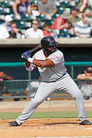 Hickory Crawdads infielder Tyreque Reed (38) at bat during a game against the Charleston Riverdogs at the Joseph P. Riley Ballpark in Charleston, South Carolina.  Hickory defeated Charleston 8-7. (Robert Gurganus/Four Seam Images)