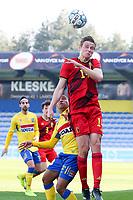 Siemen Voet (14) of Belgium  heads the ball during a friendly soccer game between KVC Westerlo and Belgium U21 on Tuesday 30 th of March 2021  in Het Kuipje , Westerlo Belgium . PHOTO SPORTPIX.BE | SPP | SEVIL OKTEM