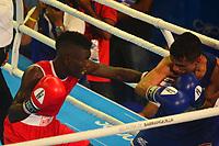 BARRANQUILLA - COLOMBIA, 25-07-2018: MARTINEZ RIVAS Yuberjen H. (Colombia) vs COLLAZO Oscar M (Puerto Rico) durante su participación en boxeo masculino categoría minimosca como parte de los Juegos Centroamericanos y del Caribe Barranquilla 2018. /  Yuberjen H. (Colombia) vs COLLAZO Oscar M (Puerto Rico) during his participation in the boxing men's light fly category of the Central American and Caribbean Sports Games Barranquilla 2018. Photo: VizzorImage / Alfonso Cervantes / Cont