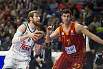 Real Madrid´s Andres Nocioni and Galatasaray´s Erceg during 2014-15 Euroleague Basketball match between Real Madrid and Galatasaray at Palacio de los Deportes stadium in Madrid, Spain. January 08, 2015. (ALTERPHOTOS/Luis Fernandez)