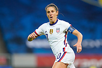 SOLNA, SWEDEN - APRIL 10: Carli Lloyd #10 of the United States looking for a cross ball during a game between Sweden and USWNT at Friends Arena on April 10, 2021 in Solna, Sweden.