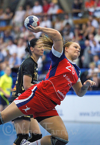 30 MAY 2012 - LONDON, GBR - Jeanett Andersen (GBR) of Great Britain shoots during the women's 2012 European Handball Championship qualification match against Montenegro at the National Sports Centre in Crystal Palace, Great Britain .(PHOTO (C) 2012 NIGEL FARROW)