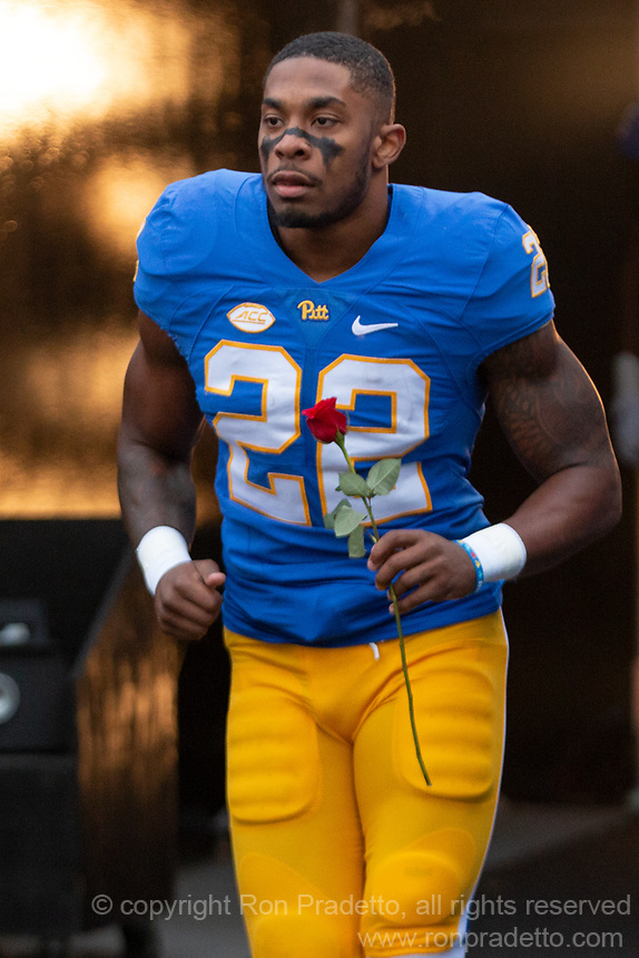 Pitt running back Darrin Hall gets introduced on senior day. The Pitt Panthers defeated the Virginia Tech Hokies 52-22 on November 10, 2018 at Heinz Field in Pittsburgh, Pennsylvania.