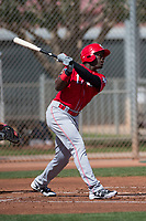 Cincinnati Reds left fielder Taylor Trammell (17) during a Minor League Spring Training game against the Los Angeles Angels at the Cincinnati Reds Training Complex on March 15, 2018 in Goodyear, Arizona. (Zachary Lucy/Four Seam Images)