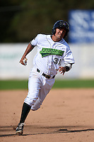 Jamestown Jammers third baseman Francisco Aponte (31) running the bases during a game against the Vermont Lake Monsters on July 13, 2014 at Russell Diethrick Park in Jamestown, New York.  Jamestown defeated Vermont 6-2.  (Mike Janes/Four Seam Images)