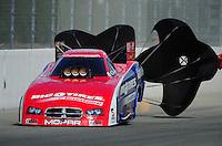 Feb. 11, 2012; Pomona, CA, USA; NHRA funny car driver Johnny Gray during qualifying for the Winternationals at Auto Club Raceway at Pomona. Mandatory Credit: Mark J. Rebilas-