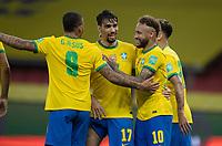 4th June 2021; Beira-Rio Stadium, Porto Alegre, Brazil; Qatar 2022 qualifiers; Brazil versus Ecuador; Neymar of Brazil celebrates his penalty kick goal with Gabriel Jesus and Lucas Paquetá in the 94th minute 2-0