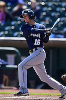 Pat Misch (16) of the New Orleans Zephyrs swings at a pitch against the Iowa Cubs at Principal Park on April 23, 2015 in Des Moines, Iowa.  The Zephyrs won 9-2.  (Dennis Hubbard/Four Seam Images)