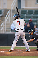 Andy Ibanez (7) of the Hickory Crawdads at bat against the Kannapolis Intimidators at Kannapolis Intimidators Stadium on April 8, 2016 in Kannapolis, North Carolina.  The Crawdads defeated the Intimidators 8-2.  (Brian Westerholt/Four Seam Images)