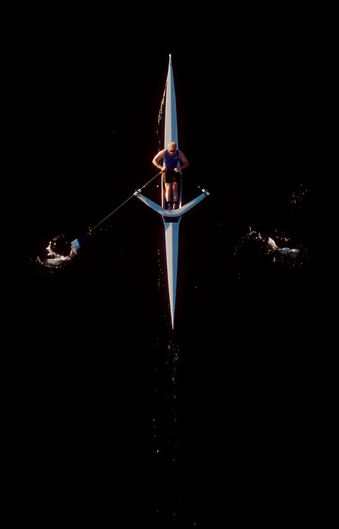 Rowing, Man rowing single racing shell from directly above, Lake Union, Seattle, Washington State, Pacific Northwest, USA,