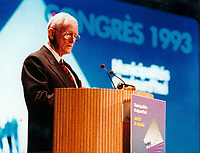 """Montreal, April 21, 1993 FILE PHOTO, Montreal (QC) Canada<br /> <br /> 1993 File Photo of Claude Ryan adressing  l ' UNION DES MUNICIPALITES DU QUEBEC Convention, April 21, 1993,when he was Quebec Minister of Municipal Affairs.<br /> <br />  Claude Ryan, a former Quebec Liberal leader and longtime publisher of Montreal's Le Devoir newspaper, died yesterday February 8 2004,, from an inoperable stomach cancer. <br /> <br /> Ryan led the Liberals in Quebec from 1978 to 1982, and led the """"No"""" forces during the 1980 referendum on Quebec sovereignty. <br /> <br /> Photo :(c) 1993, Pierre Roussel / Images Distribution"""