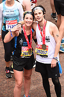 Helen Skelton and Cel Spellman<br /> at the finish of the London Marathon 2019, Greenwich, London<br /> <br /> ©Ash Knotek  D3496  28/04/2019