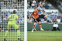 20th February 2021; Jubilee Stadium, Sydney, New South Wales, Australia; A League Football, Sydney FC versus Brisbane Roar; Corey Brown of Brisbane Roar and Rhyan Grant of Sydney compete for the crossed ball