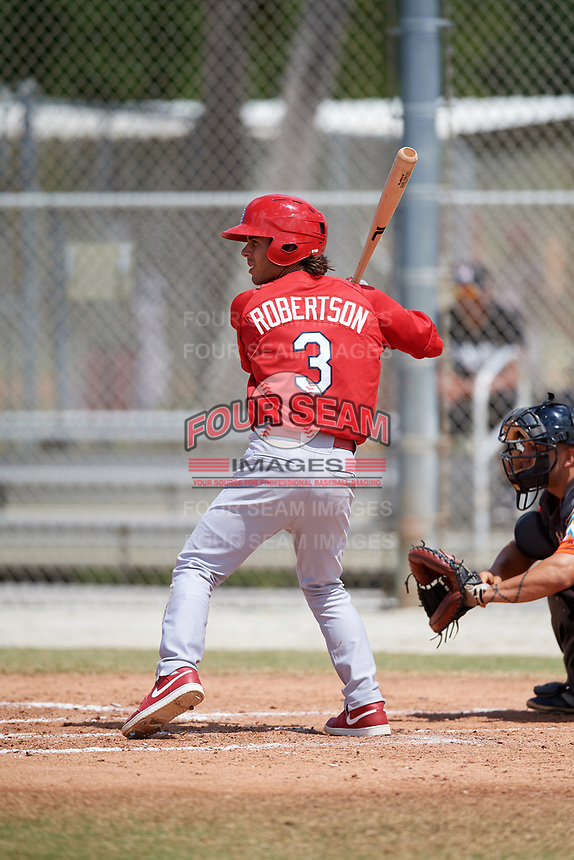 St. Louis Cardinals Kramer Robertson (3) during a Minor League Spring Training game against the Miami Marlins on March 26, 2018 at the Roger Dean Stadium Complex in Jupiter, Florida.  (Mike Janes/Four Seam Images)