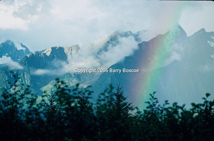 Rainbow over an Alaskan mountain range
