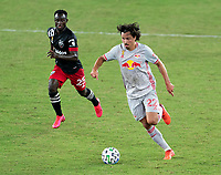 WASHINGTON, DC - SEPTEMBER 12: Florian Valot #22 of the New York Red Bulls dribbles during a game between New York Red Bulls and D.C. United at Audi Field on September 12, 2020 in Washington, DC.
