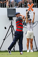 29th August 2021; Owens Mills, Maryland, USA;  Bryson DeChambeau (USA) watches his shot from the 1st tee during the final round of the BMW Championship on August 29, 2021, at Caves Valley Golf Club in Owings Mills, MD.