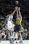 Fenerbahce Ulker Istambul's Luka Zoric (r) and CSKA Moscow's Demetris Nichols during Euroleague Third Place Game. May 15,2015. (ALTERPHOTOS/Acero)