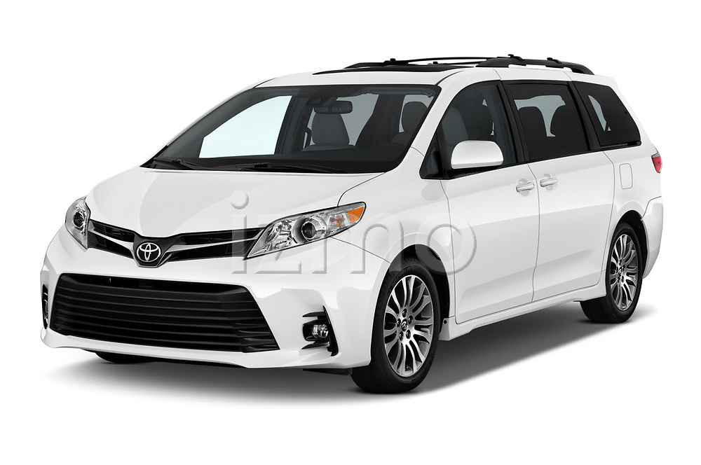 2020 Toyota Sienna XLE 5 Door Mini Van angular front stock photos of front three quarter view