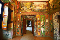 Corridor with Renaissance painting of hunting scenes in the Villa d'Este, Tivoli, Italy. A UNESCO World Heritage Site.